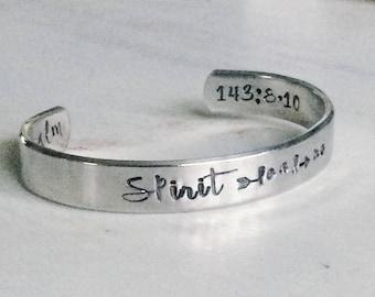 Geist führt mich - Psalmen - Hand gestempelt Silber Armreif