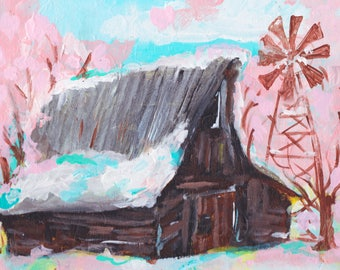 Cherry Blossom Barn painting, cherry blossoms, cherry tree, old barn, dark barn, old farmhouse, old farm, old barns, pink trees, farmhouse