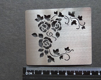 Small Stainless Steel Stencil Corner Rose Emboss BEAUTIFUL