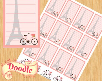 Text Boxes with Paris Design|Big Happy Planner Stickers|Happy Planner Stickers|Create 365 Stickers| MAMBI Stickers
