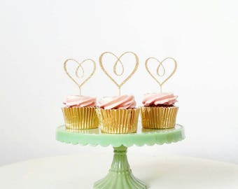 Set of 12 Cursive Heart cupcake toppers, ideal for any celebration, bridal shower, engagement party, anniversary, wedding