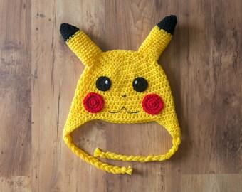 Pikachu Hat, Crochet Pikachu Hat, Pikachu Crochet Hat, Pikachu Beanie, Pokemon Hat, Pokemon Go Hat, Pikachu Crochet, Pokemon Crochet