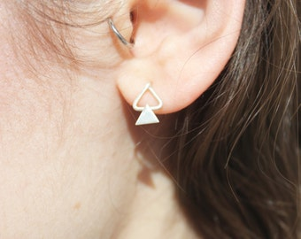 Double triangle earrings silver