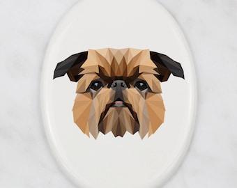 A ceramic tombstone plaque with a Griffon dog. Art-Dog geometric dog