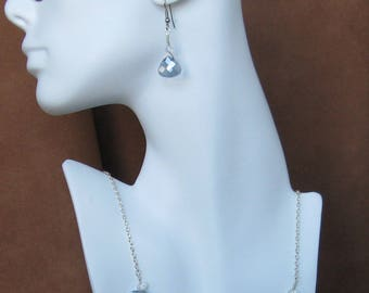 Crystal Blue Pear Necklace & Earring Set