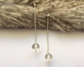 Wedding Long Earrings, Simple Crystal Earrings, Evening Crystal Earrings, Natural Gemstone, Bridal Earrings, Bridesmaid Gift, Gift for Wife