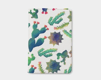 Cactus passport holder leather passport cover personalized passport cover cute passport cover by WanderlustCover