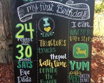 John Deere Tractor First Birthday Milestone Chalkboard