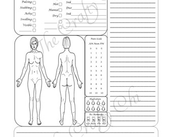 The Original Female Pain Journal  Full Sheet 8.5 x 11 in