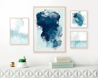 Gallery Wall Art, Set of 4 Prints, Blue Abstract Art, Feature Wall Art, Printable Download Original Wall Art, Affordable Minimal Art