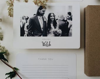 40 Photograph Thank You Cards || Rustic Wedding Thank You Cards, Personalised Thank You Cards, Wedding Thank You With Photography, Card Pack
