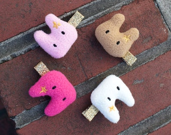 Cutie Bunny Hair Clip Set (2 of set), cotton filled bunny accessories, choose 2 colors