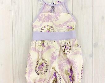 Toddler Girl Easter Outfit - Toddler Girl Romper - Baby Girl Romper  - Vintage Baby Romper - Purple & White Baby Romper - READY TO SHIP