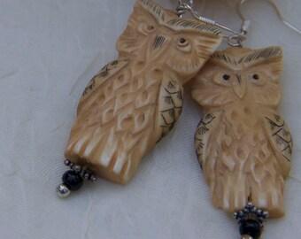 owl brown beige carved bone earrings sterling findings  earrings under 25 bird nature earthy OOAK give a hoot