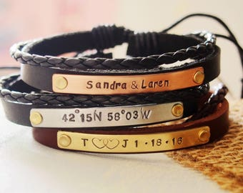 Custom leather bracelet, custom bracelet, wrap bracelet, leather wrap cuff, stamped leather bracelet, personalized bracelet for boyfriend
