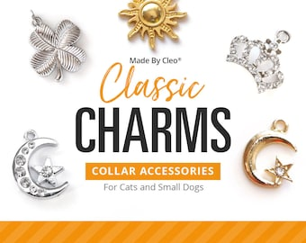 "Cat Collar Charm / Small Pet Charm / Small Collar Charm - ""Classic Charm Series"" - Pet Collar Accessory (Moon, Heart, Anchor, Crown...)"
