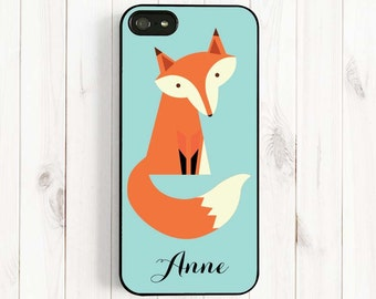 Cute Fox Monogrammed iPhone 7 6 4/4s/5/5c/5s Case, Minty Blue Samsung Galaxy s5 s6 Note 4 phone Cover,Personalized Initials Monogrammed Am60