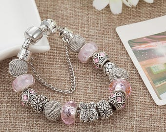 Pink charm bracelet-great gift