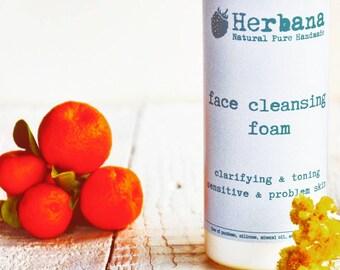 Schaum, schäumenden Gesicht zu waschen, Schaum Reiniger, Gesicht waschen Reinigung, Gesicht Aknehaut, empfindliche Haut, reinigend, natürliche Pflege von HerbanaCosmetics