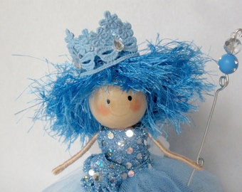 Fairy Art Doll, Clothespin Doll, Peg Doll, Magic Wand Doll, Blue Fairy, Pegtales