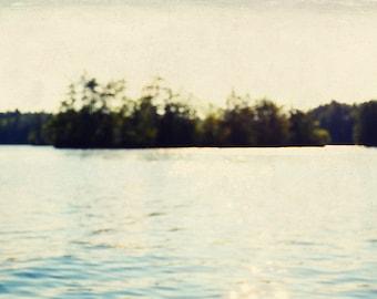 abstract art print // serene wall art // maine lake photograph - The Island, abstract photography