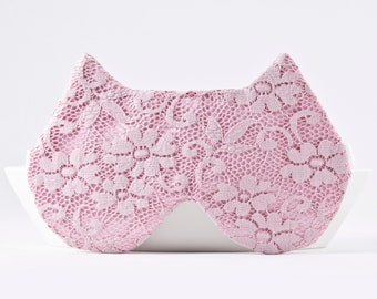 Pink Sleep Mask, Cat Lover Gift, Lace Mask for Woman, Cat Mask, Floral Sleep Mask, Sexy Gifts, Travel Gift Accessories, Sleeping Mask