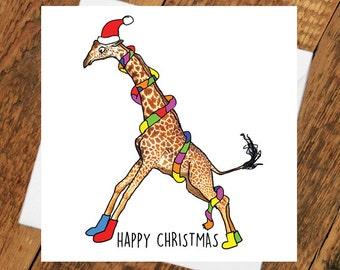 Christmas Card Funny Giraffe xmas Girlfriend boyfriend partner cute animal funny holiday tierliebe drawing him her wife husband