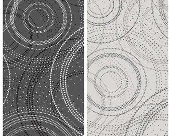 Circle Dots Modern Geometric Fabric - 100% Quilting Cotton Fabric - Gray/Black/White/Beige [[by the half yard]]