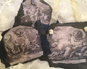 100+ Year Old SLATE Plaques- Antique Slate Angel Plaques