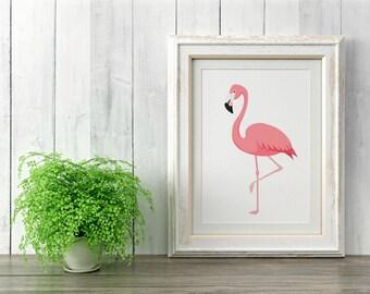 Kitschy Pink Flamingo Wall Art, 8x10, Flamingo Wall Art, Kitsch Flamingo Art, Flamingo Artwork