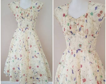 FREE SHIPPING | Vintage 1950s Lemon Yellow Floral Nylon Dress Size XS