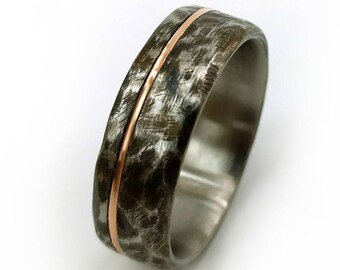 Distressed Titanium Ring, 18k Rose Gold, Distressed Ring, 18k Rose Gold, Unique Wedding Ring, Men's Ring, Women's Ring, Wedding Rings
