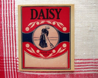 Vintage Daisy Broom Handle Label, Red, White, and Blue