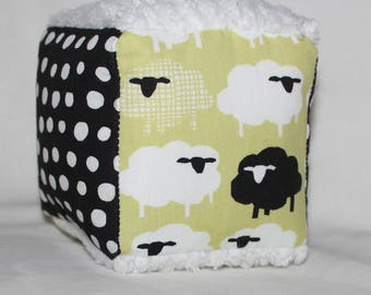 Small Sheep and Chenille Fabric Block Rattle Toy