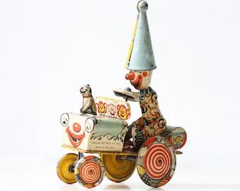 Vintage Unique Art Toy, Artie the Clown Crazy Car with Jojo the dog, 1930s