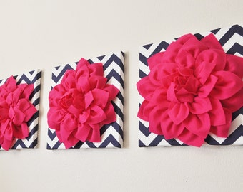 Pink Flower Wall Art Sculpture Set, Bathroom, kitchen wall decor, handmade,  hot pink bathroom wall decor Dahlia Mum 12 Inch Set of Three