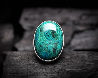 Large Chrysocolla Ring 8.5   Sterling Silver Ring   Bold Oval Genuine Natural Blue Green Chrysocolla Gemstone