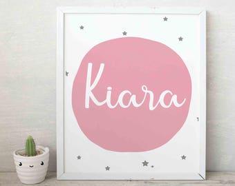 Birth print pink, Custom wall print,Nursery wall art, Birth print for nursery, Girls birth print, name print, Girls nursery, Digital print