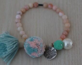 Natural Pink Opal Bracelet /Pompom Pearl Tassel Bracelet
