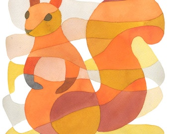 Squirrel Mid Century Modern Print orange red yellow pink  8 x 10