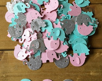 Pink and Teal Elephant Confetti, Silver Elephant, Baby Shower Confetti, It's a Girl, elephant die cut, elephant baby shower, girl