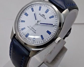 pre-owend beautiful Fortis wrist watch hand winding 17 jewels man's white dial movement st 96 swiss made