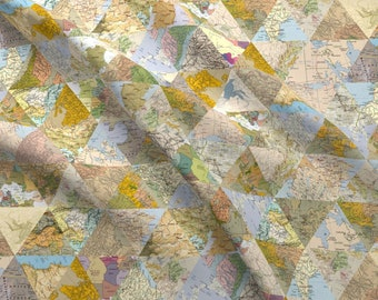 World map fabric etsy world fabric lost found by biancagreen globe map triangles geometric traveling quilting cotton fabric gumiabroncs Gallery