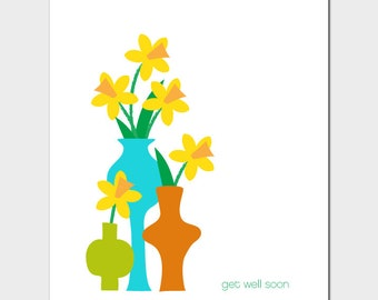 Vases Get Well Soon Card with Daffodils