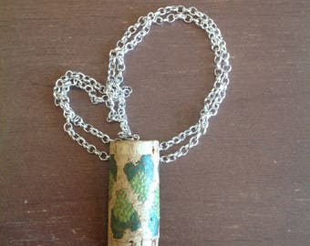 Upcycled Painted Wine Cork Necklace- Grapes
