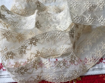 """Antique Early Vintage Accent Trim~Embroidered Floral on Organza~Lace~Light Ecru~Yardage~Lavish Embroidery~Scalloped Edge~Gorgeous~2 Yd + 27"""""""