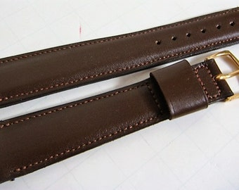 Men's Brown Leather Watch Band Gemex New Vintage Stock Leather Watch Band 5/8 inch Long