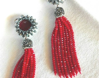 Long earrings with tassels in crystals