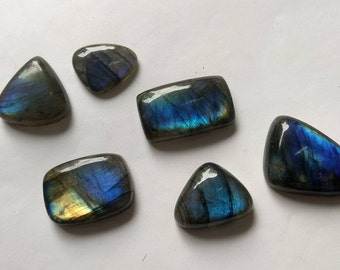 AAA Very Rare 100% Natural Labradorite Gemstone 6 ps lot Loose Cabochon fancy Shape Blue Fire Approx Size17*21 tom17*29 mm Approx Wholesale