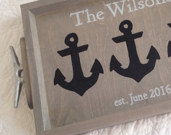 Personalized Anchors Wooden Tray - lake wedding gift, anchors decor, lake house decor, personalized tray, new lake house gift